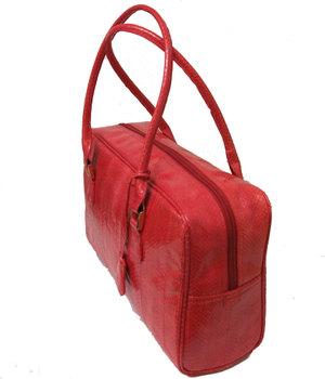 水ヘビ革ボストン型バッグ