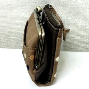 牛革水玉2つ折りがま口型財布