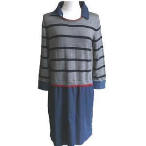 ボーダーセーター+デニムスカート=ワンピース