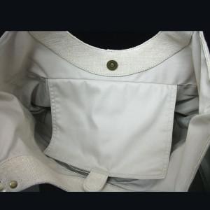 麻×豚革のクリ手トート
